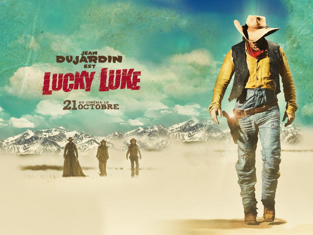 lucky luke wallpaper,poster,album cover,font,illustration,landscape