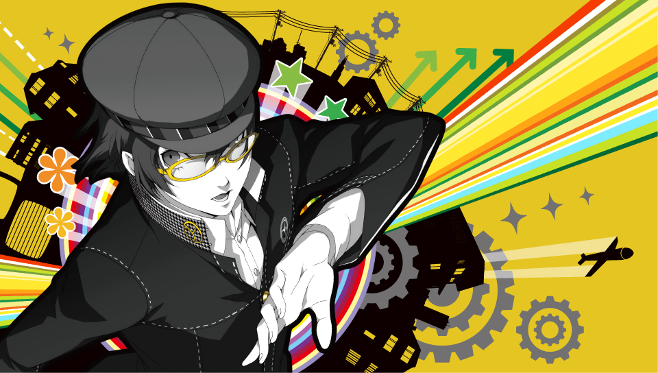 persona 4 golden wallpaper,illustration,cartoon,graphic design,black hair,fictional character