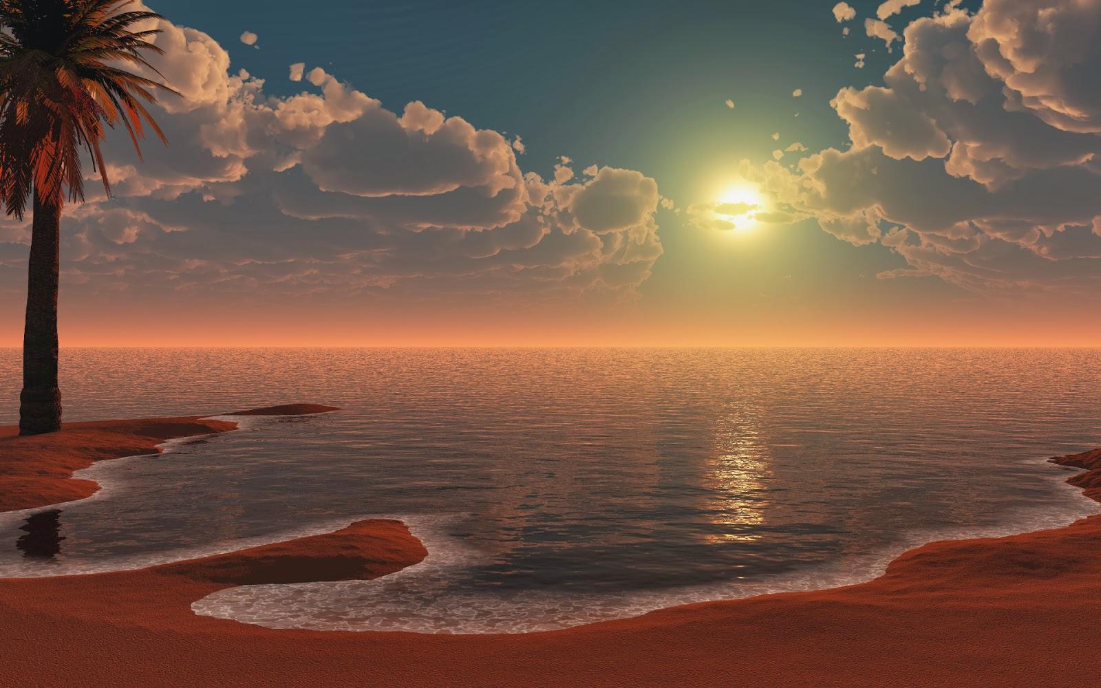 3d landscape wallpaper,sky,nature,horizon,natural landscape,sunrise
