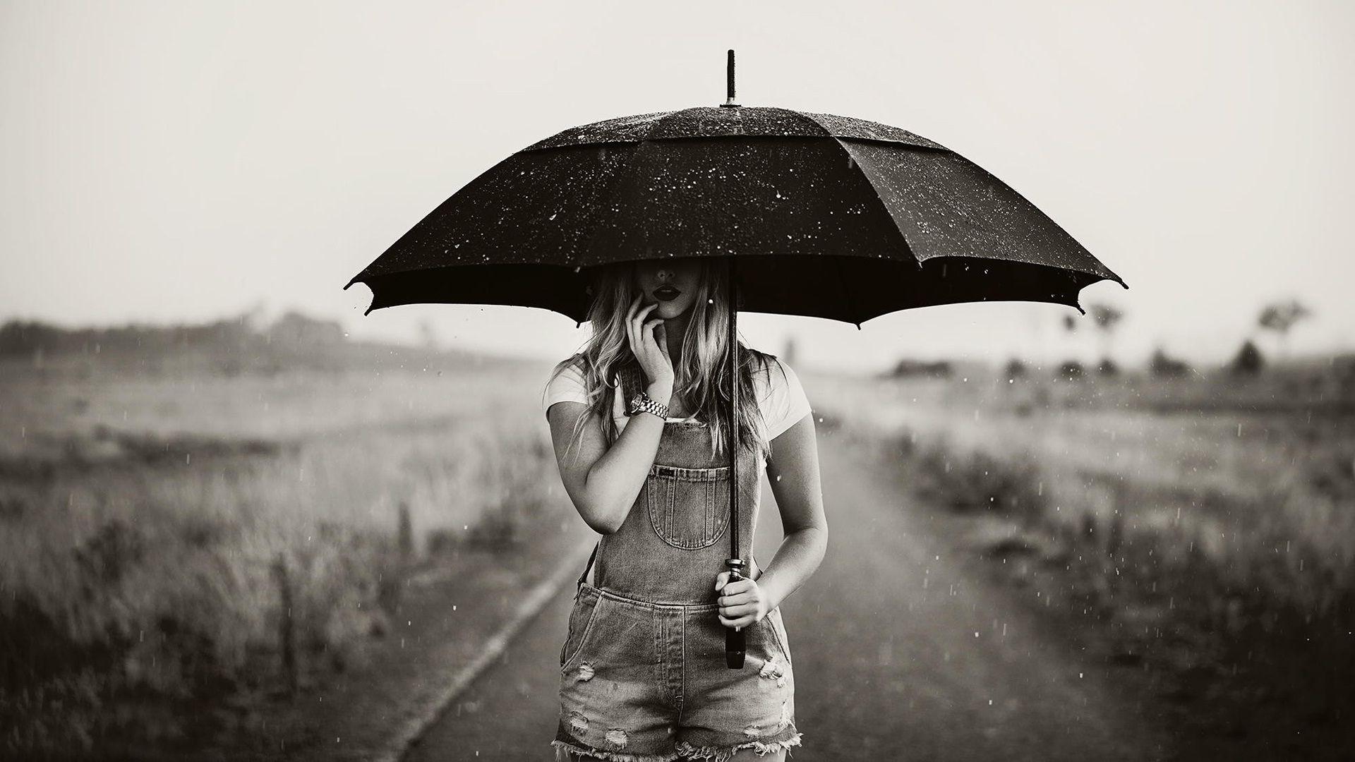 sad rain wallpaper,umbrella,photograph,white,black,black and white