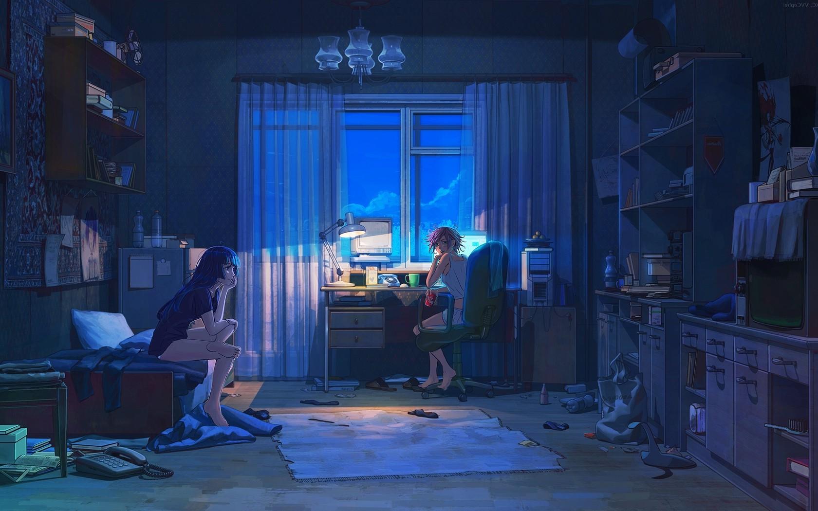 anime room wallpaper,blue,scene,room,stage,adventure game