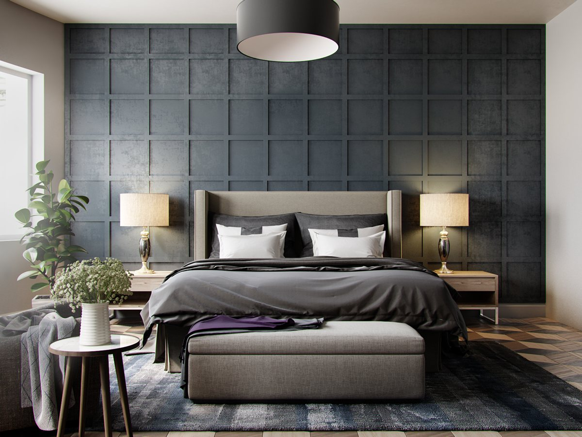 gray wallpaper,furniture,bedroom,room,interior design,bed