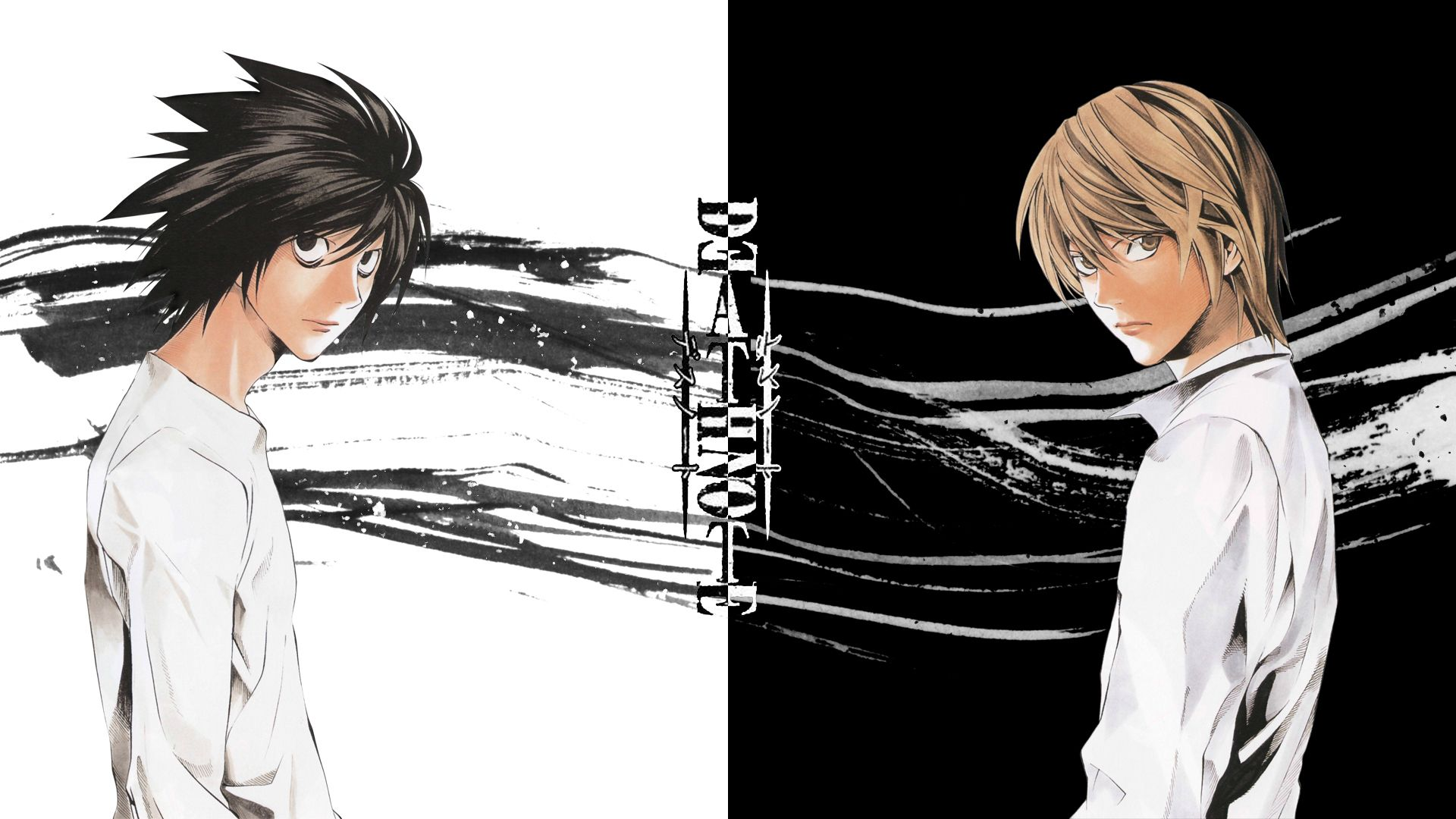 death note wallpaper,cartoon,anime,black hair,monochrome,black and white
