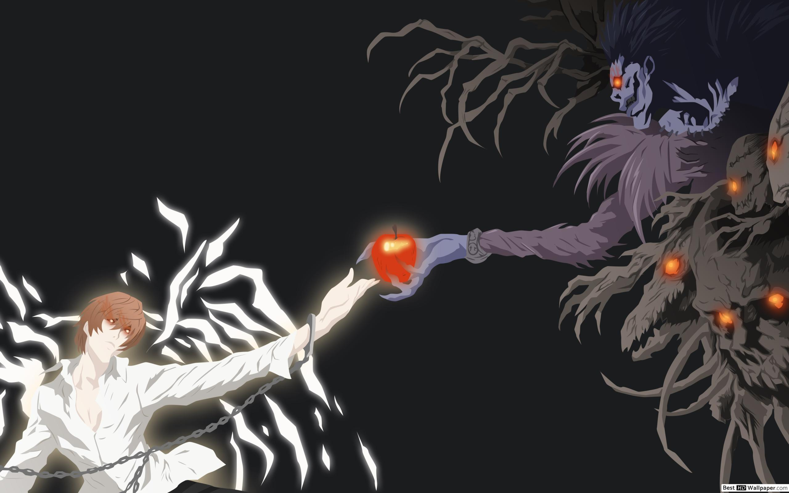 death note wallpaper,anime,organism,animation,fictional character,illustration