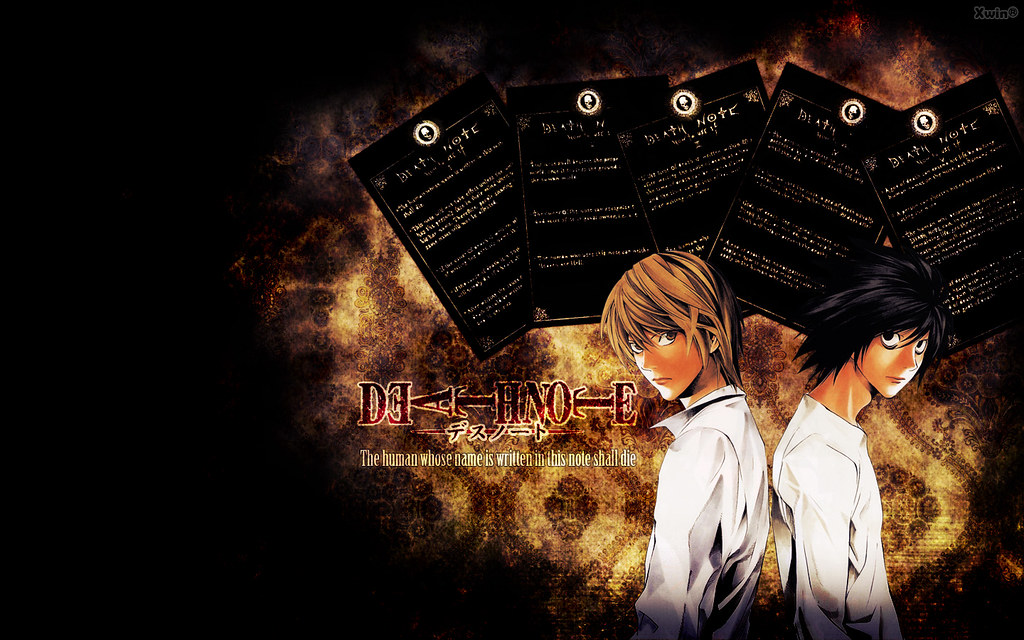 death note wallpaper,anime,sky,font,graphic design,cg artwork