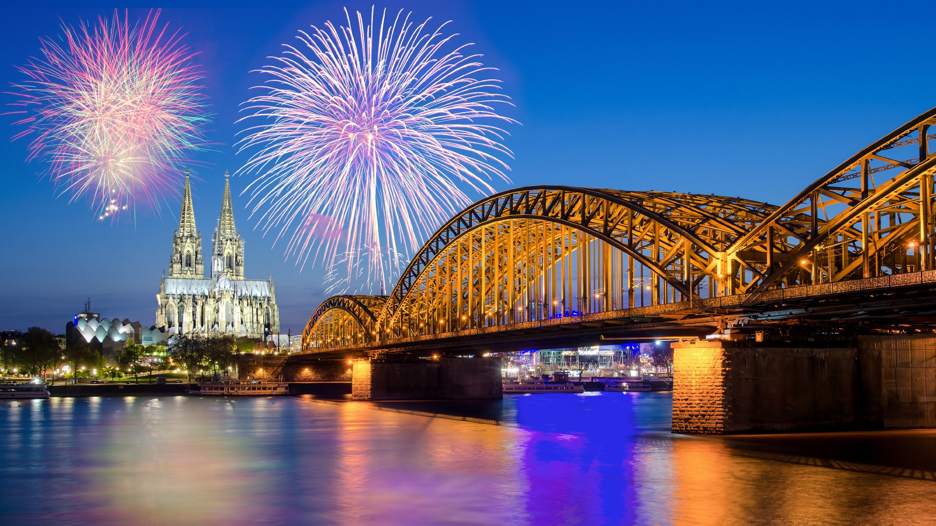 new year wallpaper,bridge,landmark,reflection,fireworks,night