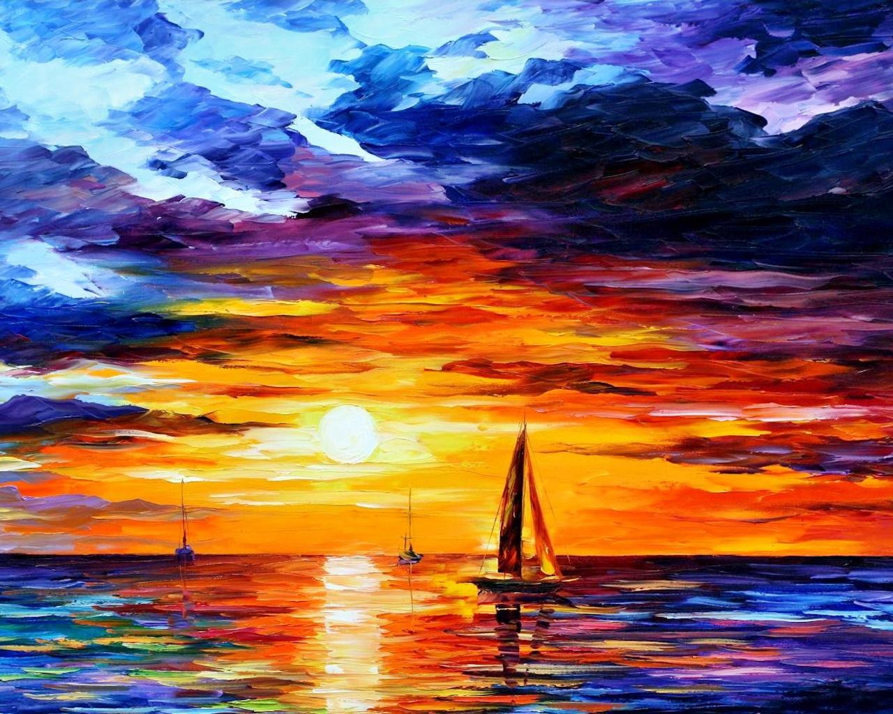 beautiful sunset wallpaper,sky,painting,horizon,sunset,sail