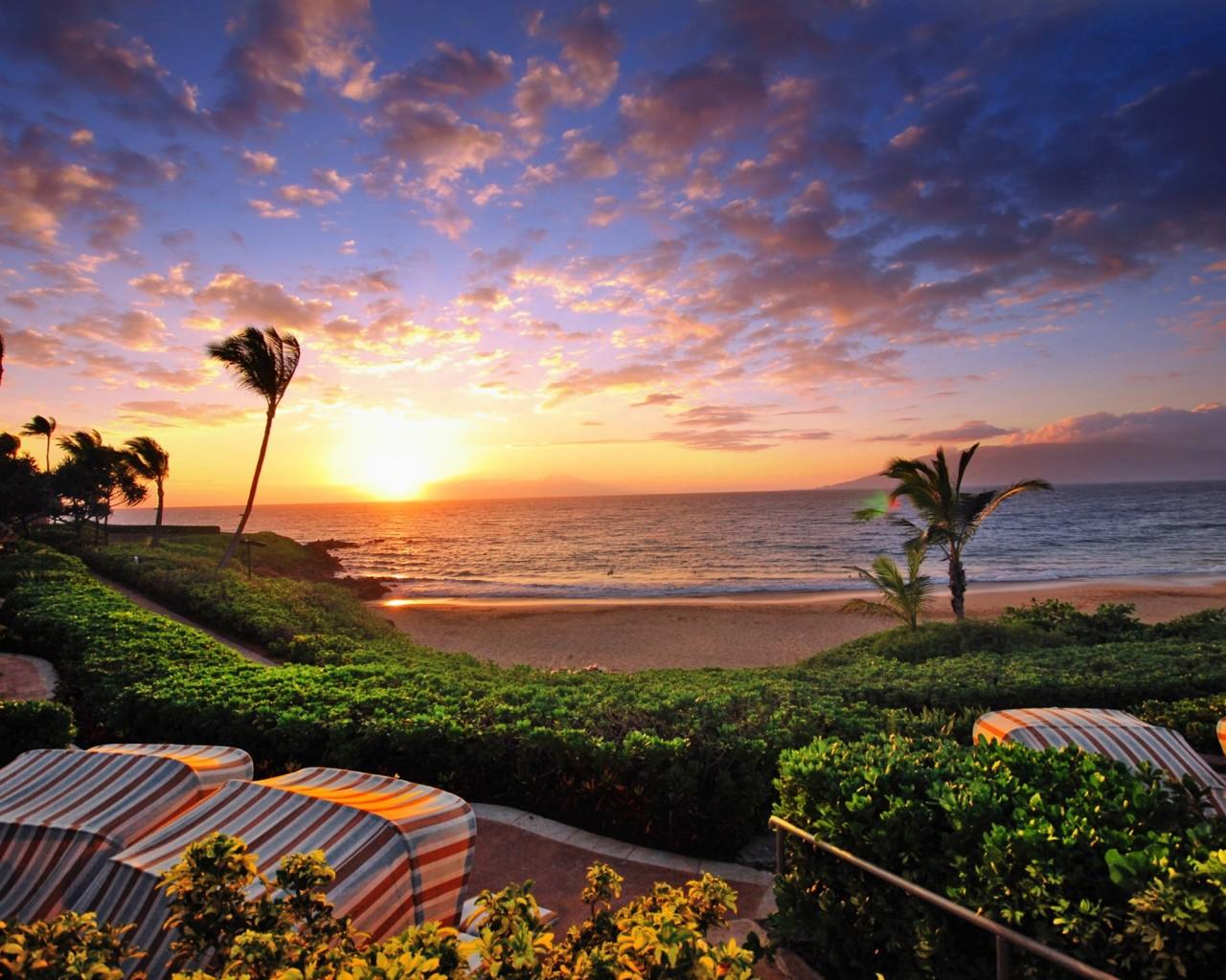 hawaii sunset wallpaper,sky,nature,ocean,natural landscape,property