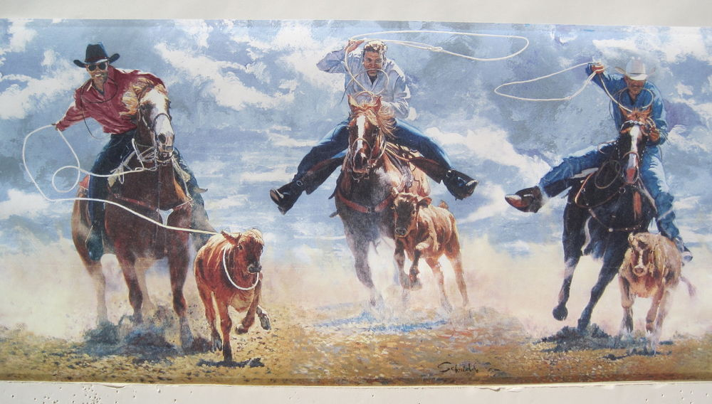 western wallpaper border,bridle,rein,animal sports,painting,rodeo