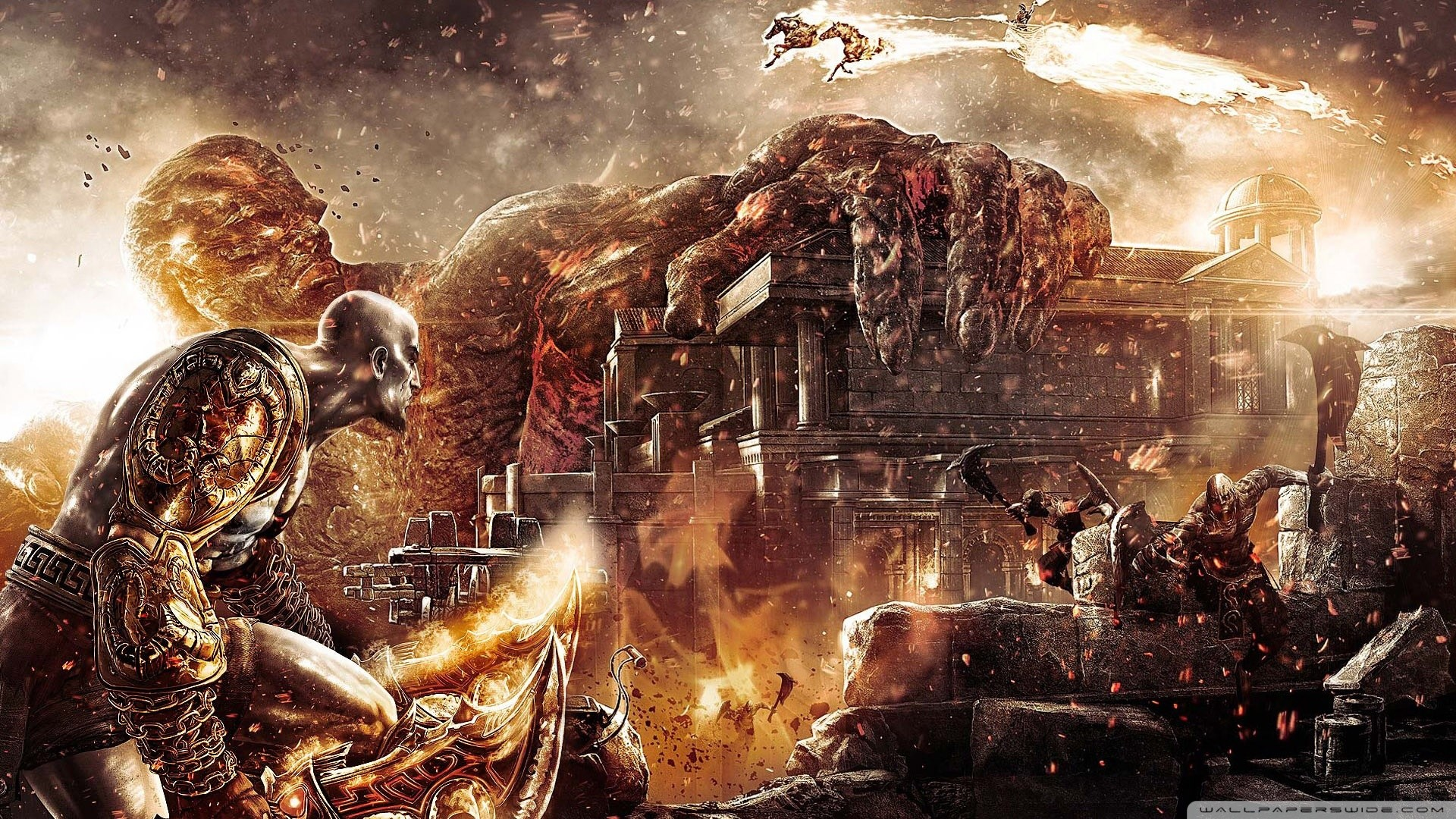 wallpaper god of war 3,action adventure game,strategy video game,cg artwork,pc game,mythology