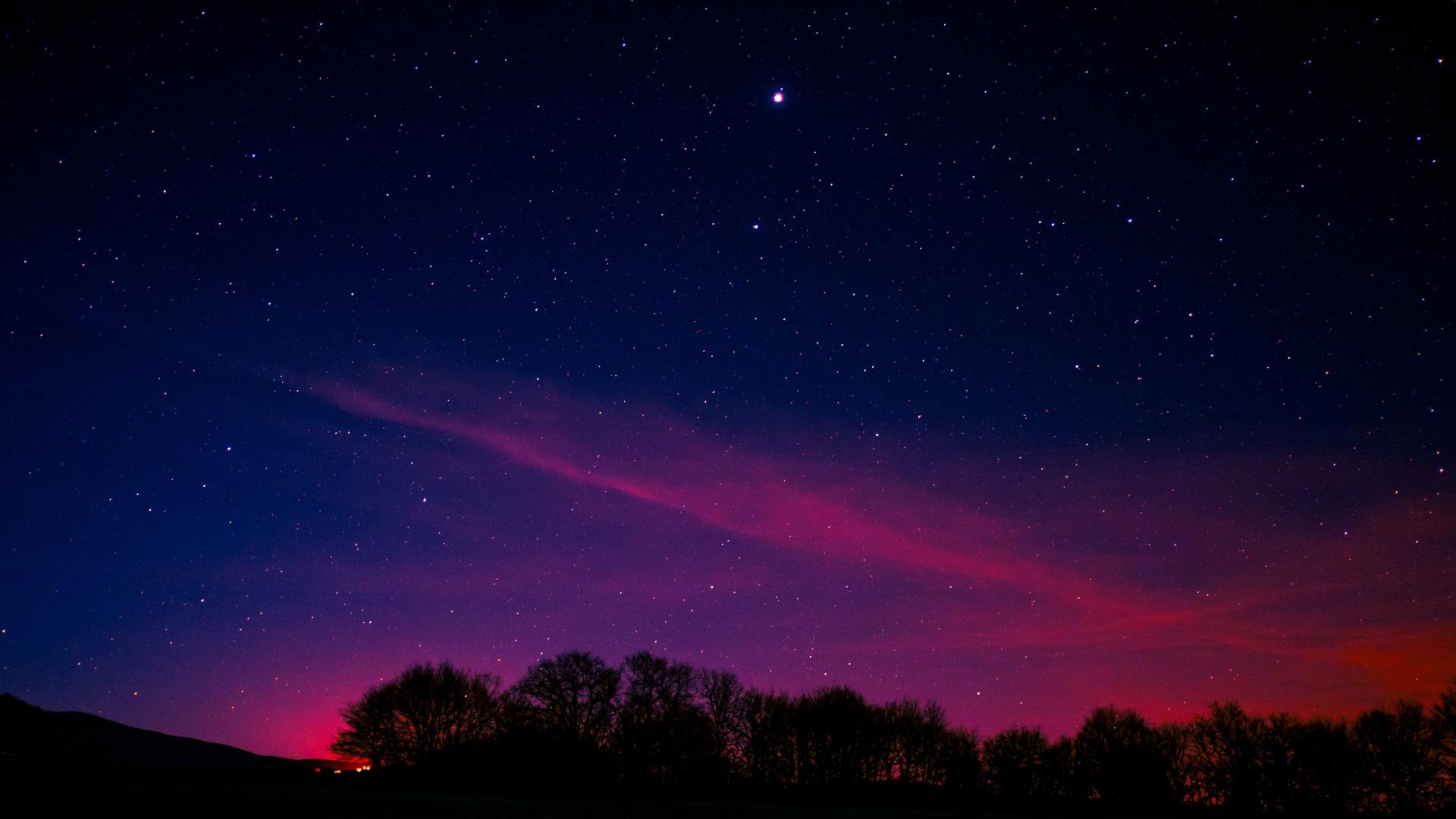 night sky wallpaper 1920x1080,sky,atmosphere,night,horizon,purple