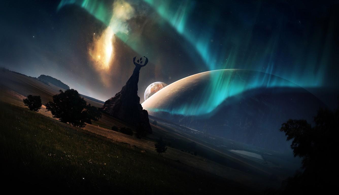 wallpaper 1336x768,sky,aurora,light,space,atmosphere