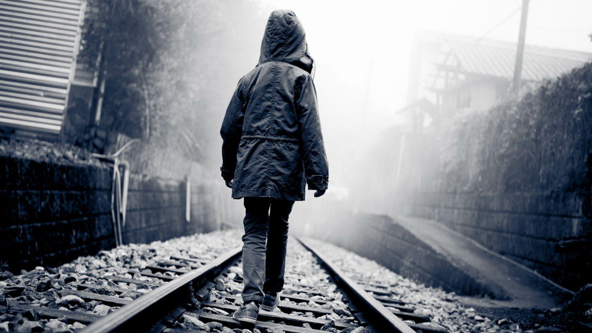 alone boy hd wallpaper,transport,atmospheric phenomenon,standing,track,black and white