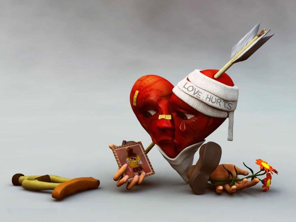 wallpaper love hurts sad hd,animation,junk food,still life photography,toy,illustration