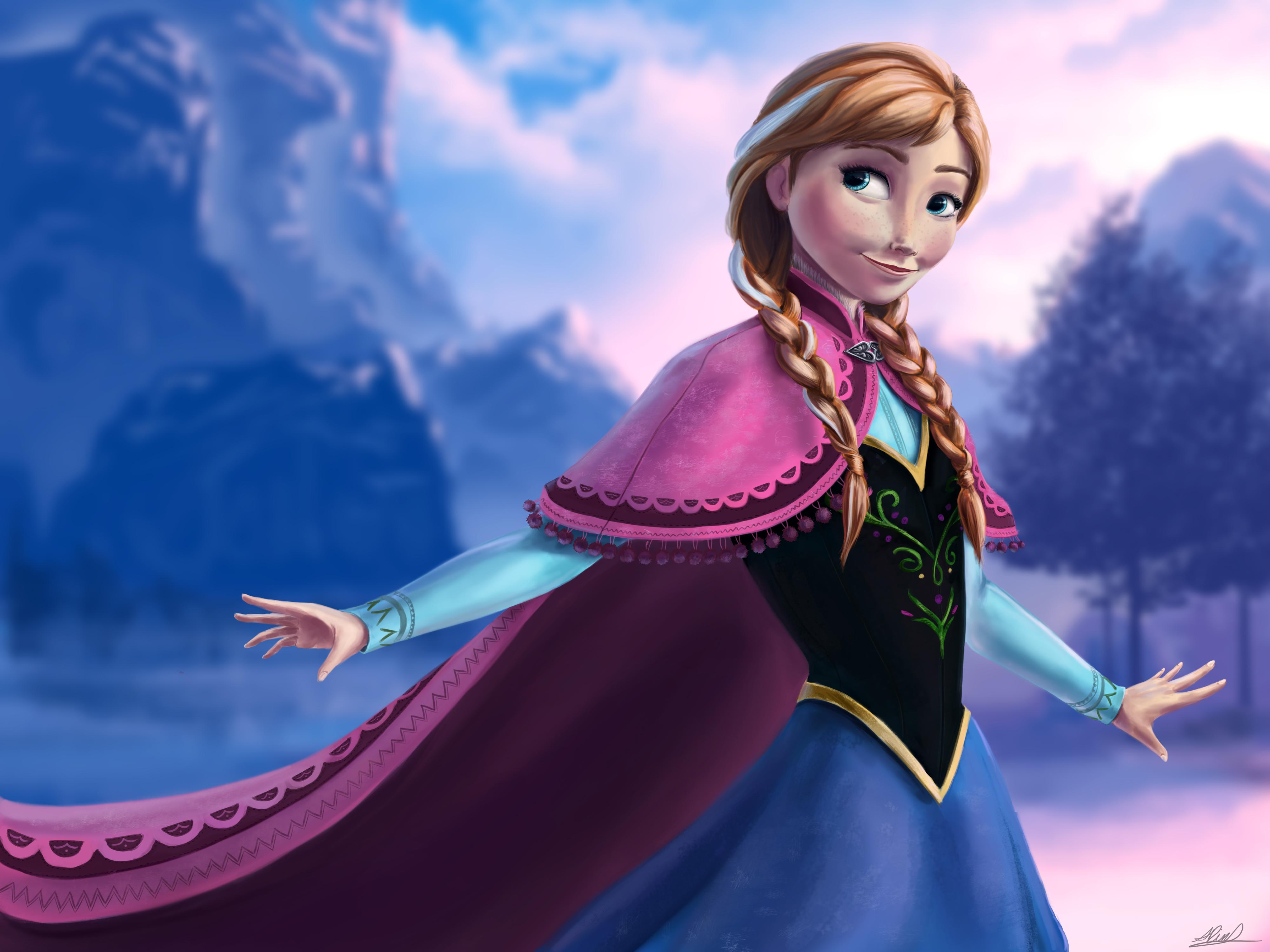 anna frozen wallpaper,cg artwork,sky,fictional character,illustration,animation