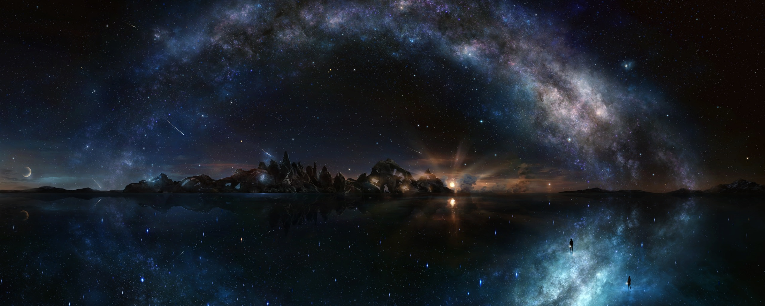 4k dual monitor wallpaper,sky,nature,outer space,atmosphere,night