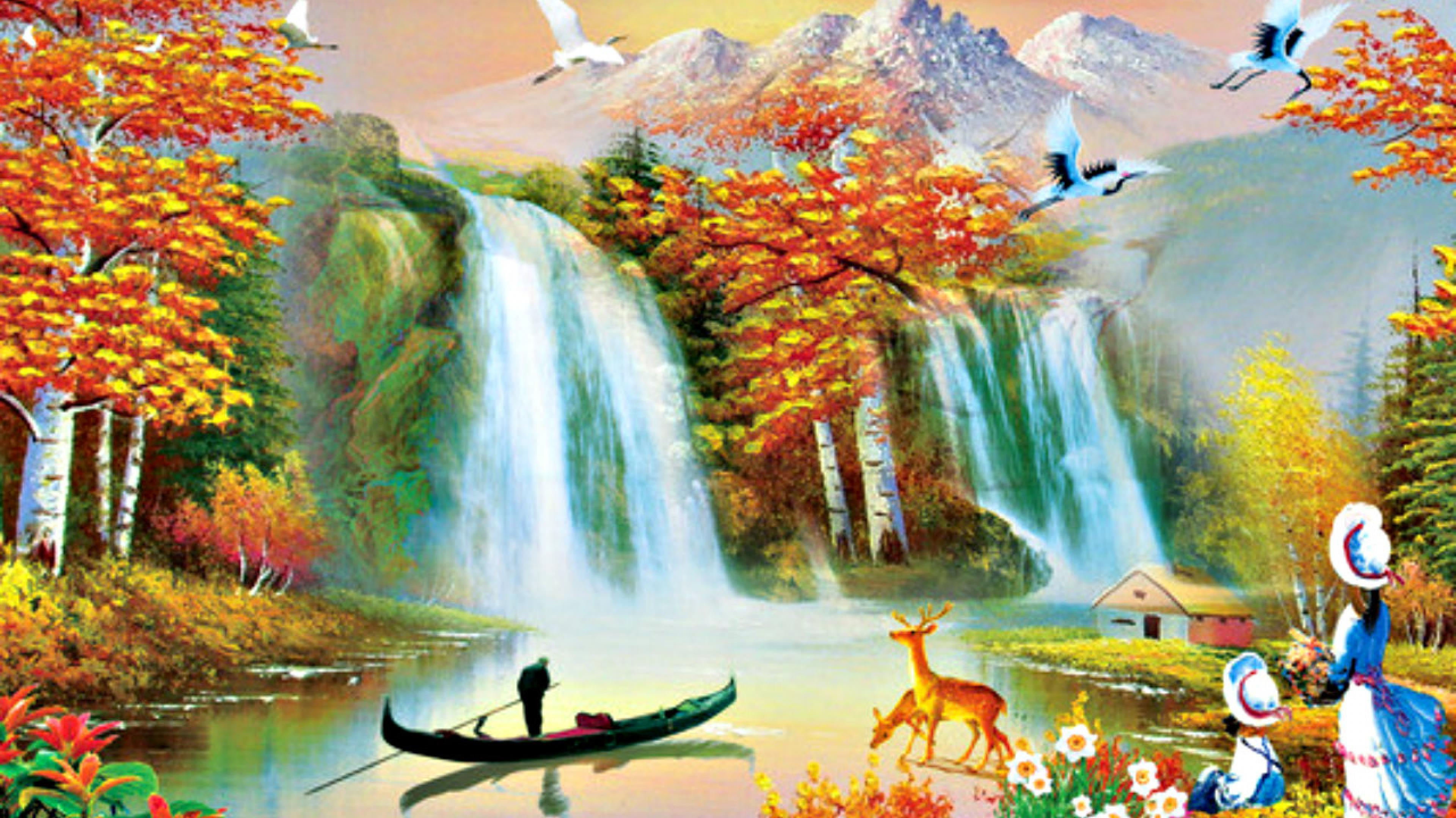 beautiful painting wallpaper images,natural landscape,nature,watercourse,water resources,painting