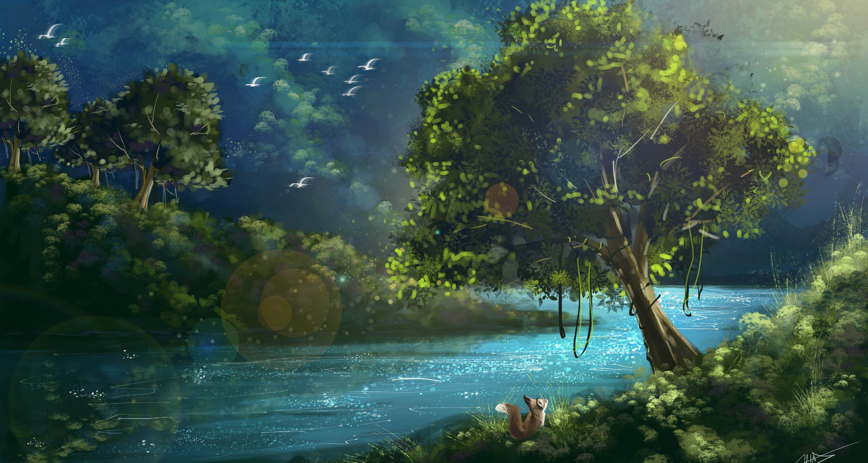nature painting wallpaper,natural landscape,nature,sky,painting,green
