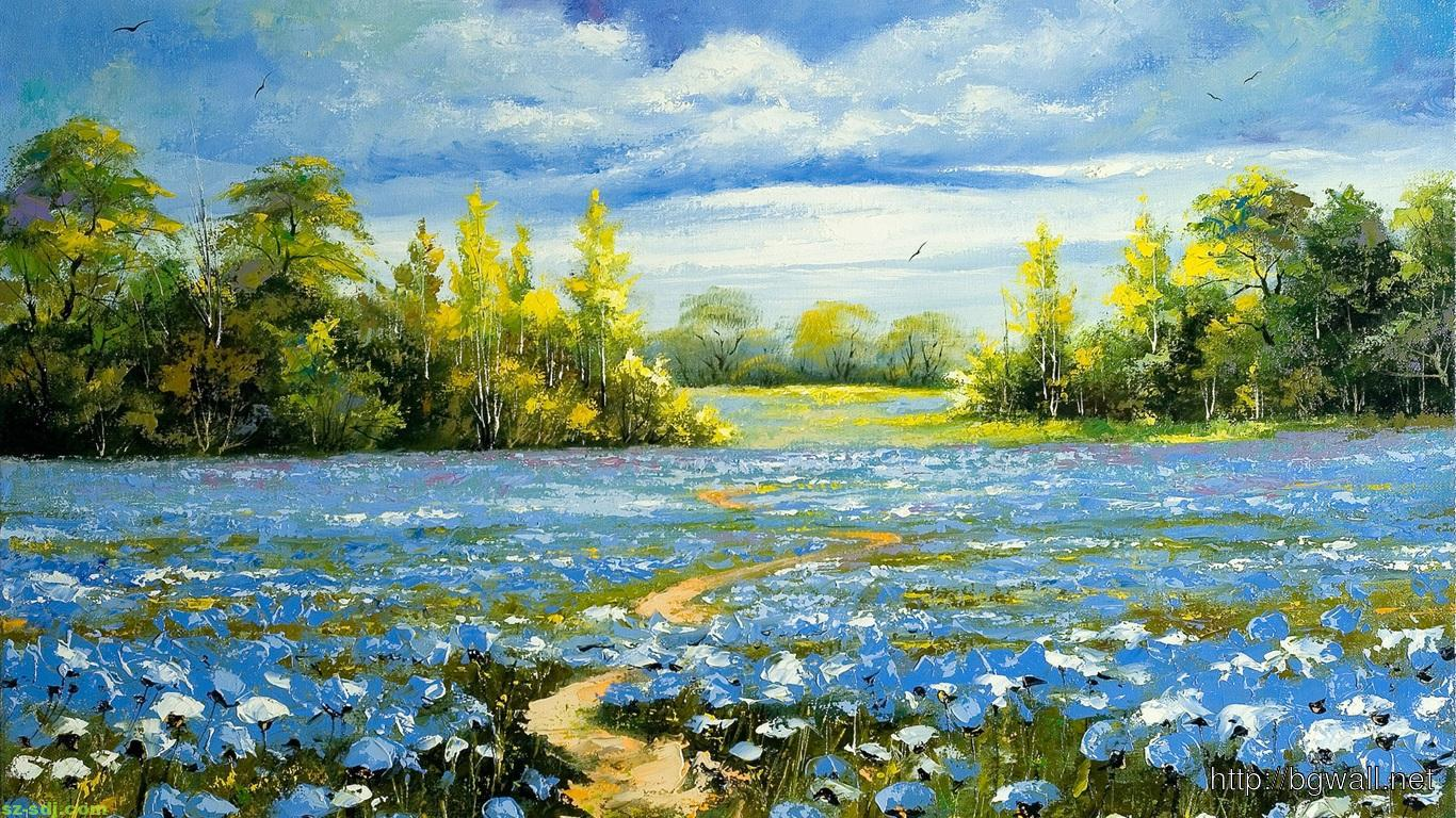 flower painting wallpaper,natural landscape,nature,meadow,natural environment,flower
