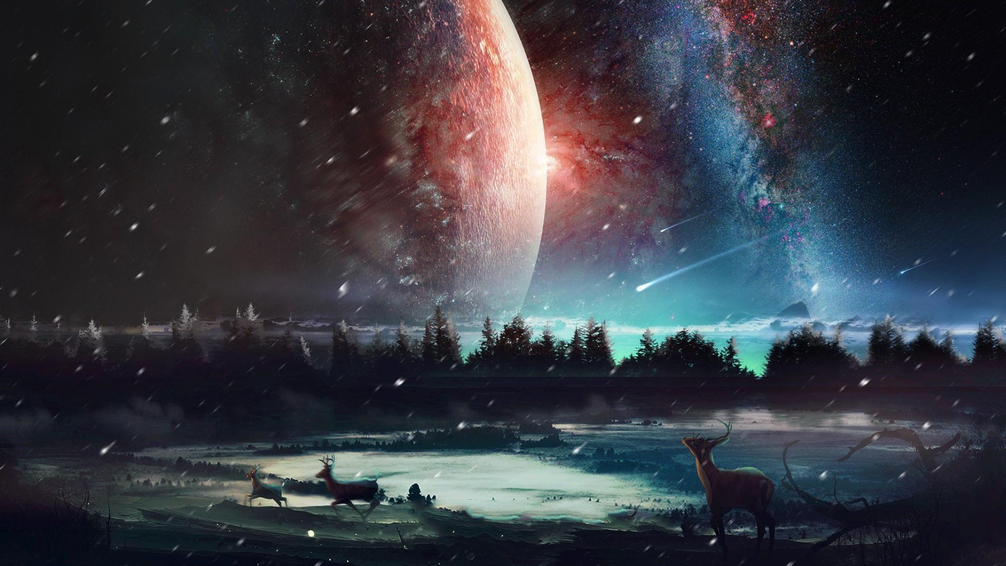 universe wallpaper 4k,sky,nature,atmosphere,aurora,space