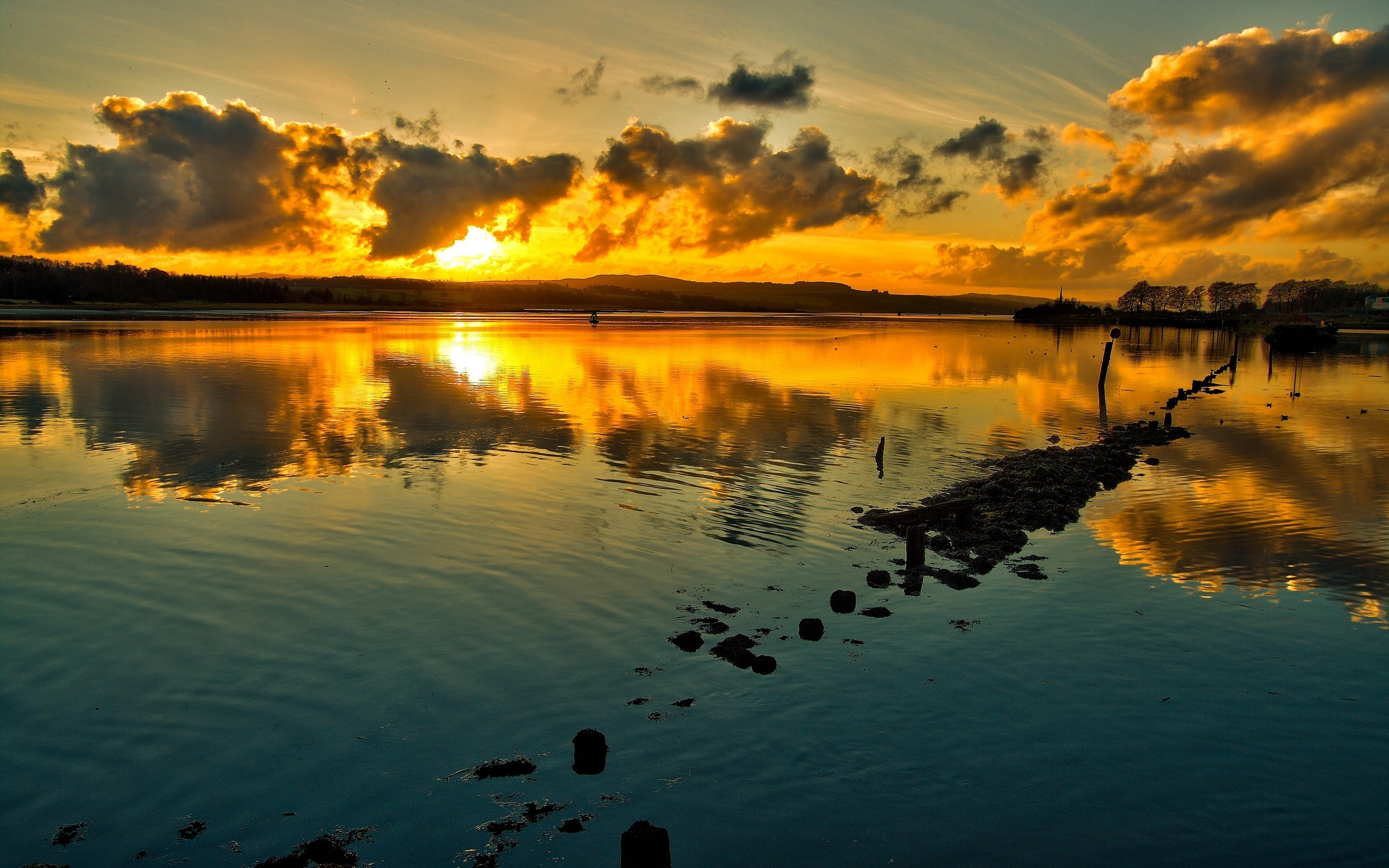 pc background wallpaper,sky,body of water,nature,reflection,sunset