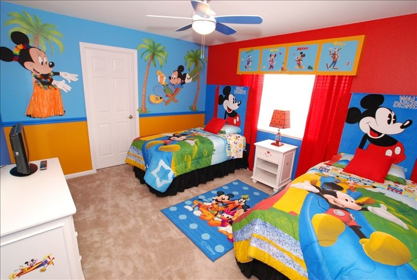 mickey mouse wallpaper for bedroom,room,bedroom,bed sheet,child,furniture