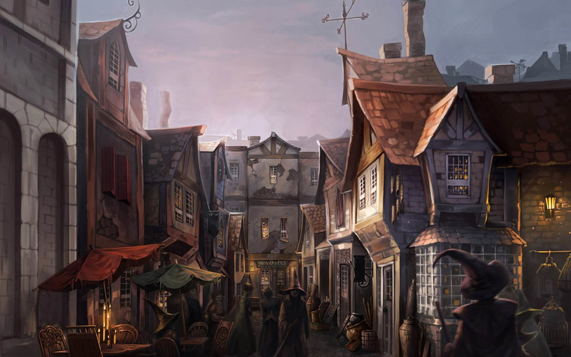 harry potter desktop wallpaper,action adventure game,town,adventure game,painting,strategy video game