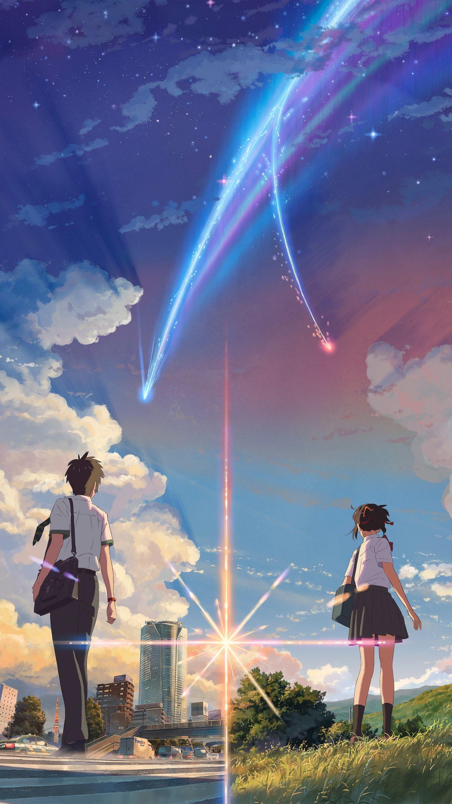 wallpaper for your phone,sky,anime,cloud,rainbow,meteorological phenomenon