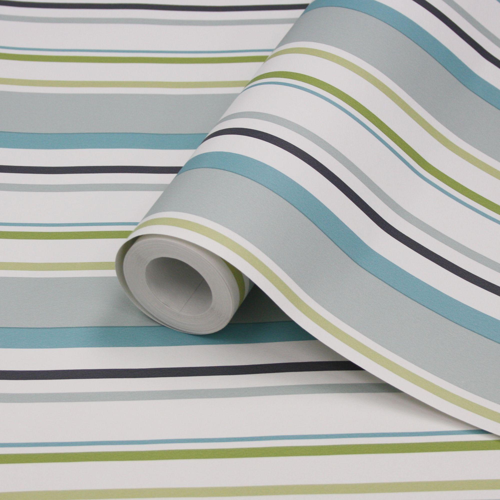 striped wallpaper b&q,green,aqua,blue