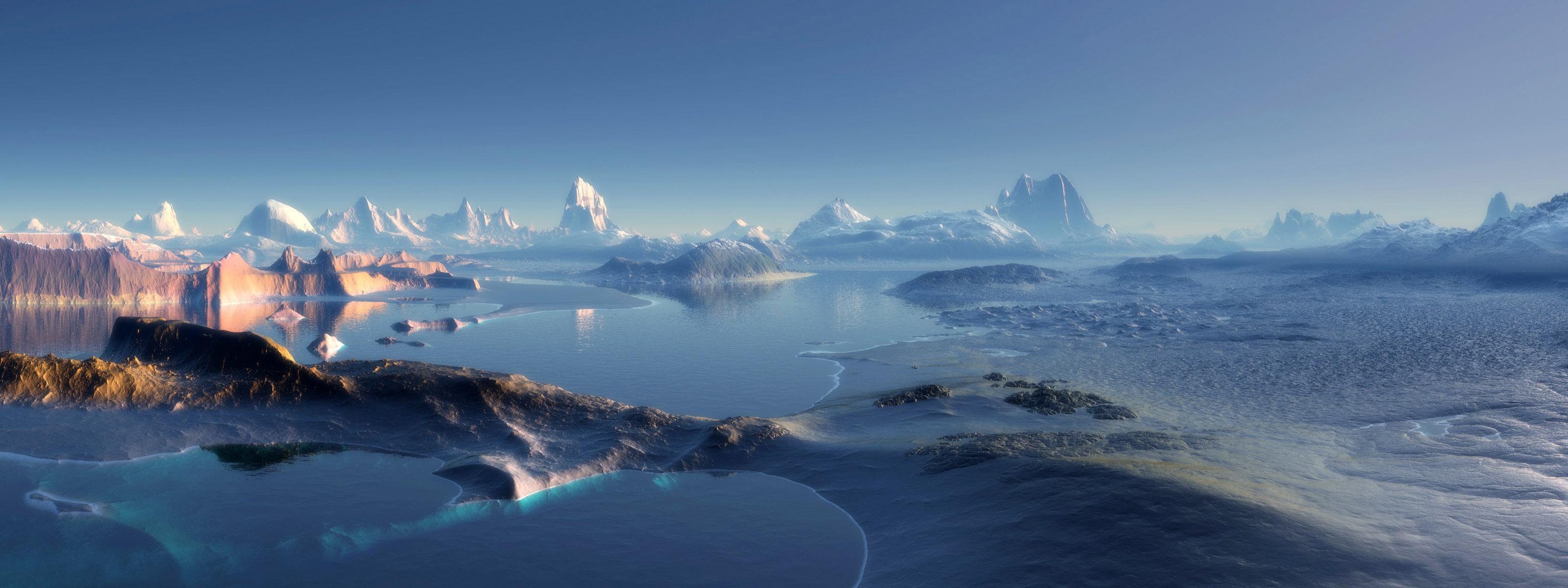 3d screen wallpaper,sky,natural landscape,polar ice cap,arctic ocean,ice