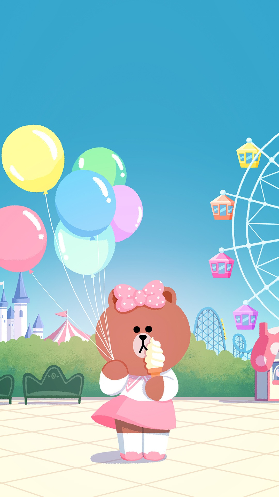 line friends wallpaper,cartoon,illustration,pink,animated cartoon,art